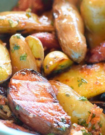 Grilled Fingerling Potato Salad with Bacon-Cilantro Vinaigrette