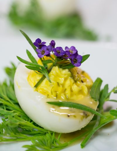 Southern Deviled Eggs with chive-truffle vinaigrette