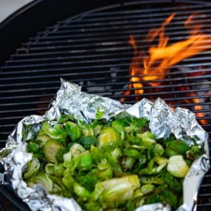 flames and sprouts on the grill