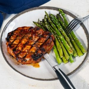gochujang glazed pork chop with sesame asparagus