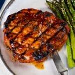 gochujang glazed pork porterhouse with sesame asparagus