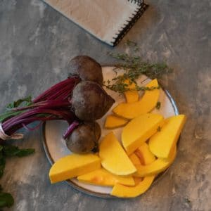 raw beets and butternut squash slices