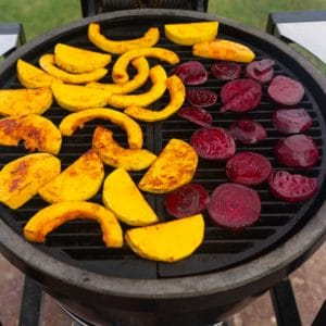 spiced butternut slices and beets on the grill
