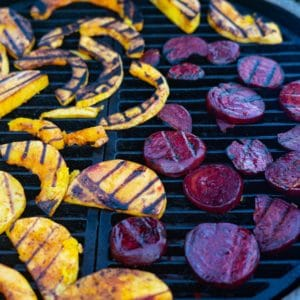 grilled butternut and beet slices