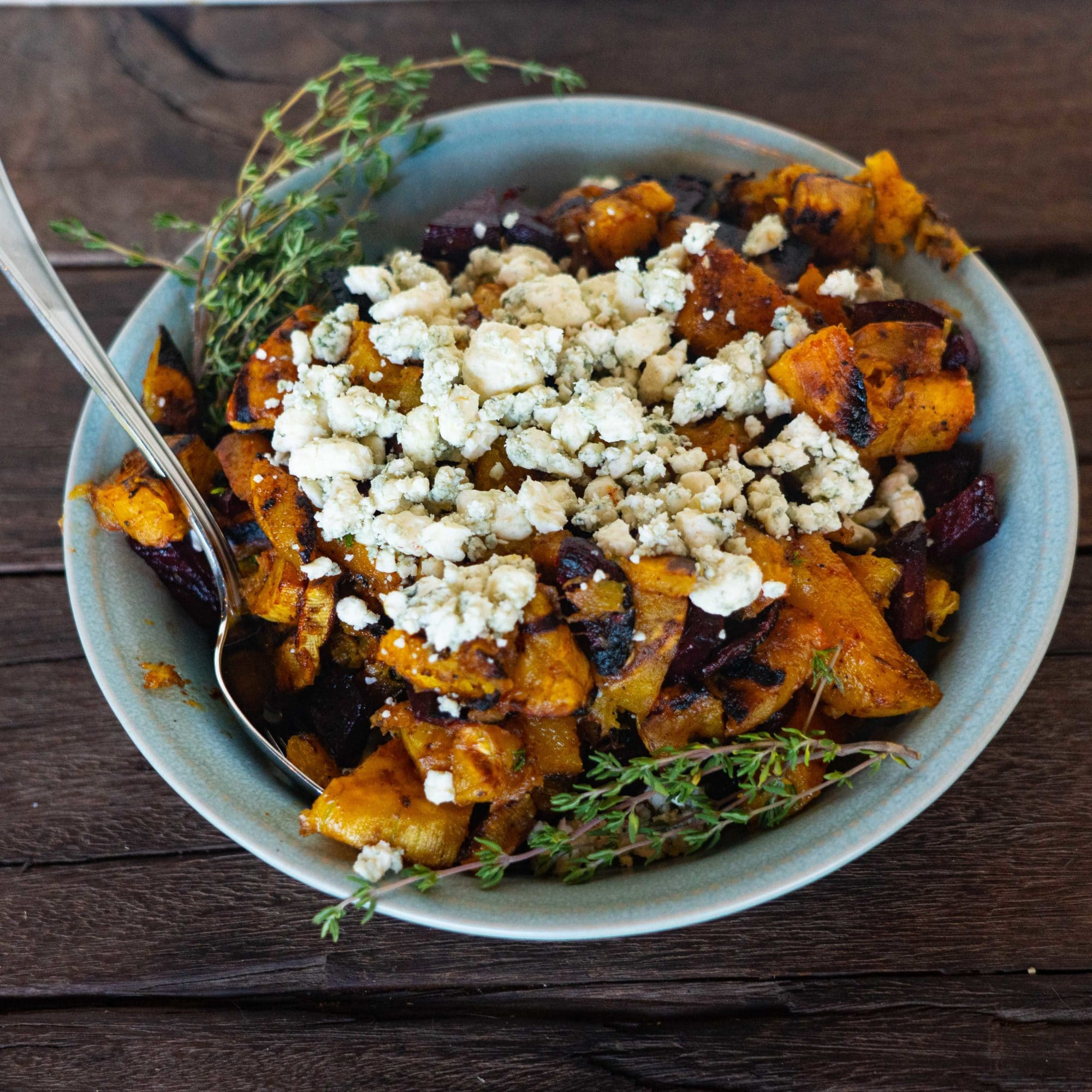 beet, butternut and bleu cheese salad