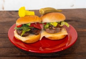 turkey and beef sliders with toppings
